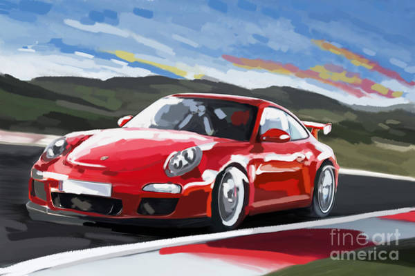 Race Car Painting - Porsche 911 Gt3 Impressionist by Tim Gilliland