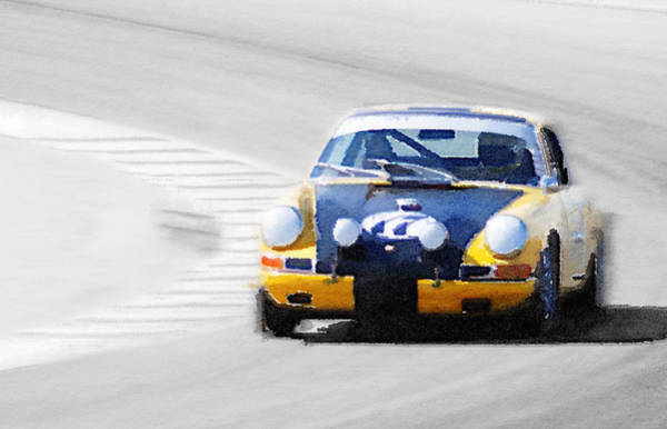 911 Painting - Porsche 911 On Race Track Watercolor by Naxart Studio