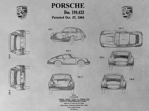 V8 Engine Wall Art - Drawing - Porsche 911 Patent by Dan Sproul
