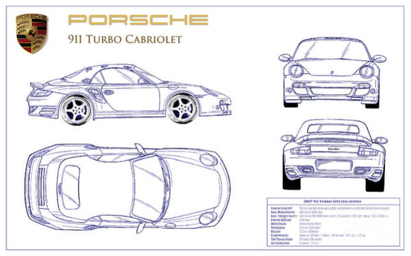 Wall Art - Photograph - Porsche 911 Turbo Blueprint by Jon Neidert