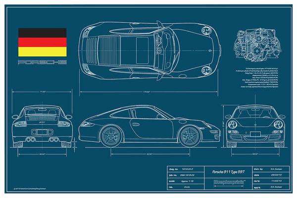 Auto Digital Art - Porsche 911 Type 997 Coupe by Douglas Switzer