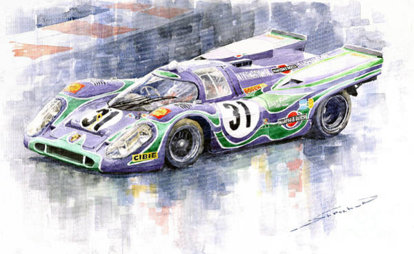 Le Mans 24 Wall Art - Painting - Porsche 917 K Martini Racing 1970 by Yuriy Shevchuk