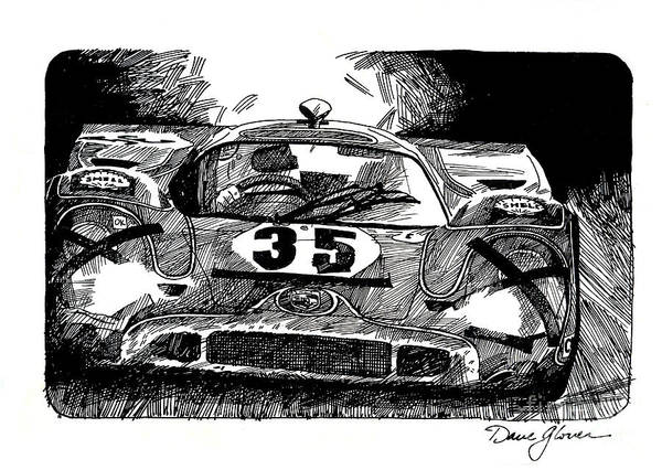 Le Mans 24 Wall Art - Drawing - Porsche 917 Longtail by David Lloyd Glover