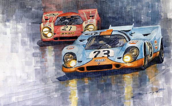 Motorsport Painting - Porsche 917k 1000km Zeltweg Austria 1970  by Yuriy Shevchuk