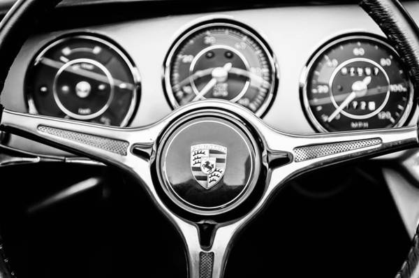 Photograph - Porsche C Steering Wheel Emblem -1227bw by Jill Reger