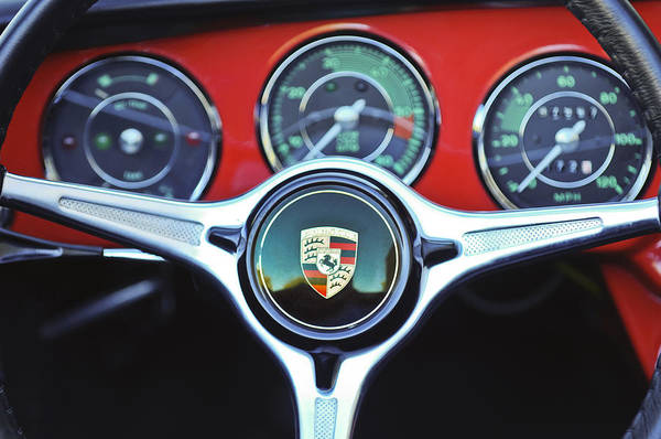 Steering Wheel Wall Art - Photograph - Porsche C Steering Wheel Emblem -1227c by Jill Reger