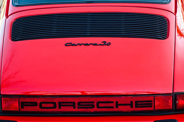 0 Wall Art - Photograph - Porsche Carrera 3.0 Taillight Emblem -0024c by Jill Reger