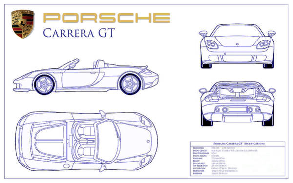 Wall Art - Photograph - Porsche Carrera Gt Blueprint by Jon Neidert