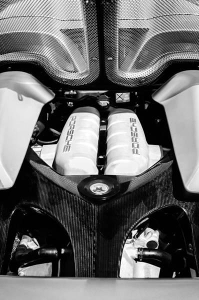 Photograph - Porsche Carrera Gt Engine -0339bw by Jill Reger