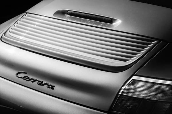 Photograph - Porsche Carrera Rear Emblem -1049bw by Jill Reger