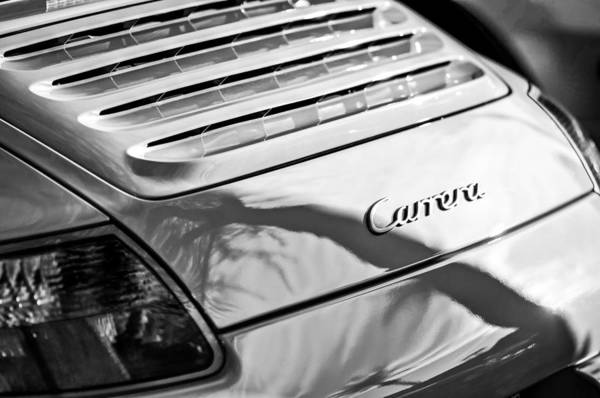 Photograph - Porsche Carrera Taillight Emblem -0568bw by Jill Reger