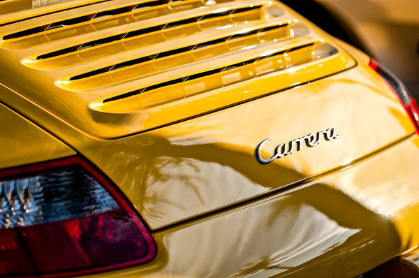 Photograph - Porsche Carrera Taillight Emblem -0568c by Jill Reger