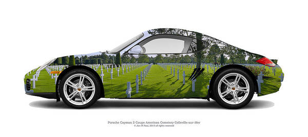 Juxtaposition Photograph - Porsche Cayman 2 Omaha Beach Us Graves by Jan W Faul