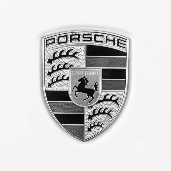 Wall Art - Photograph - Porsche Emblem -0008bw55 by Jill Reger