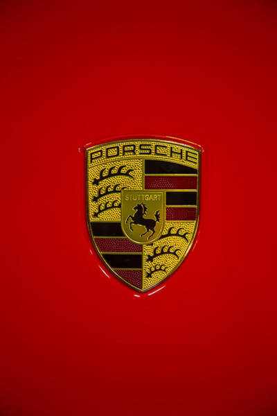 Wall Art - Photograph - Porsche Emblem Red Hood by Garry Gay