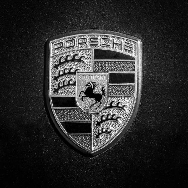 Photograph - Porsche Emblem2 -211bw55 by Jill Reger