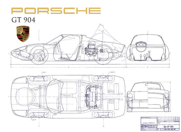 Wall Art - Photograph - Porsche Gt 904 Blueprint by Jon Neidert