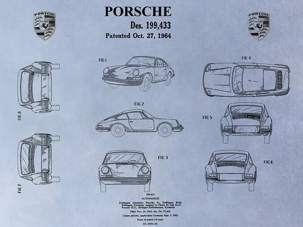 Car Drawings Mixed Media - Porsche Patent by Dan Sproul