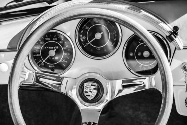 Photograph - Porsche Speedster Steering Wheel Emblem -1992bw by Jill Reger