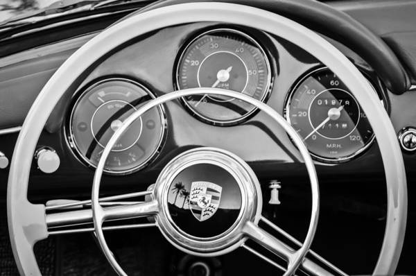 Photograph - Porsche Steering Wheel Emblem -0444bw by Jill Reger