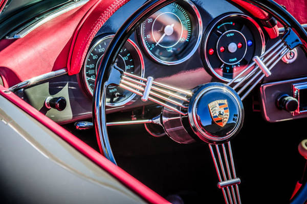 Photograph - Porsche Steering Wheel Emblem -2043c by Jill Reger