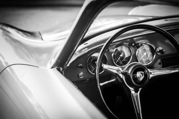 Photograph - Porsche Super 90 Steering Wheel Emblem -0422bw by Jill Reger