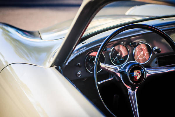 Photograph - Porsche Super 90 Steering Wheel Emblem -0422c by Jill Reger