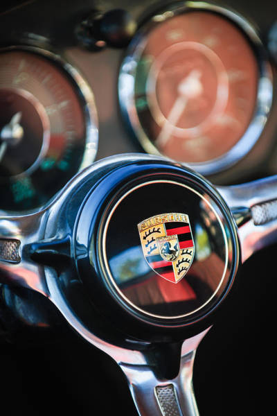 Photograph - Porsche Super 90 Steering Wheel Emblem -1548c by Jill Reger