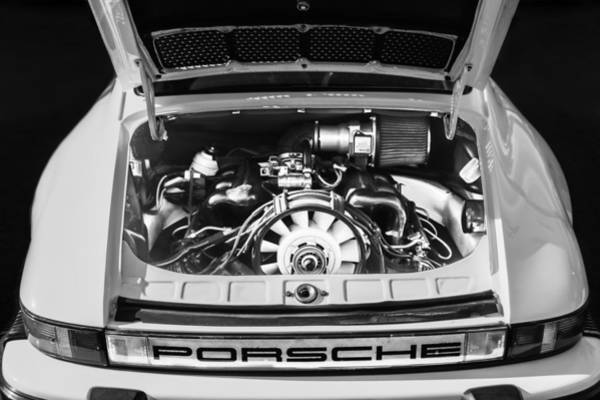 Photograph - Porsche Taillight Emblem - Engine -0003bw by Jill Reger