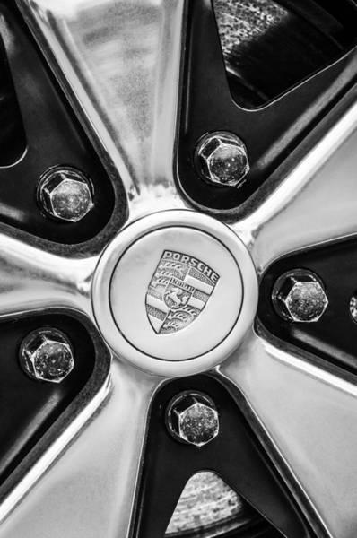 Photograph - Porsche Wheel Emblem -0660bw by Jill Reger