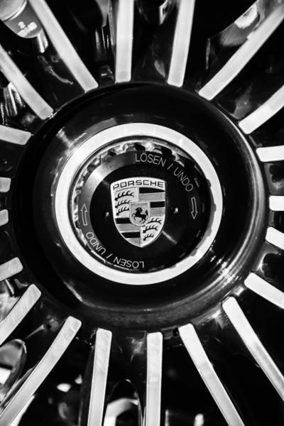 Photograph - Porsche Wheel Emblem -1082bw by Jill Reger