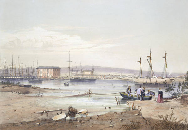 Pier Drawing - Port Adelaide From South Australia by George French Angas