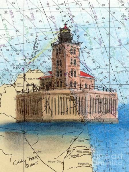Wall Art - Painting - Port Austin Reef Lighthouse Mi Nautical Chart Map Art Cathy Peek by Cathy Peek