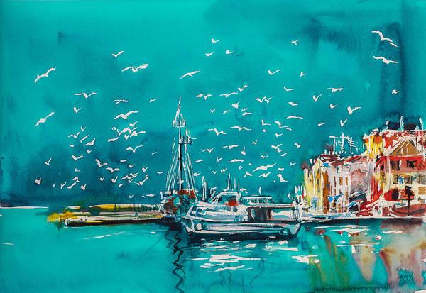 Harbour Painting - Port by Kovacs Anna Brigitta