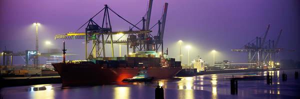 Freighter Photograph - Port, Night, Illuminated, Hamburg by Panoramic Images