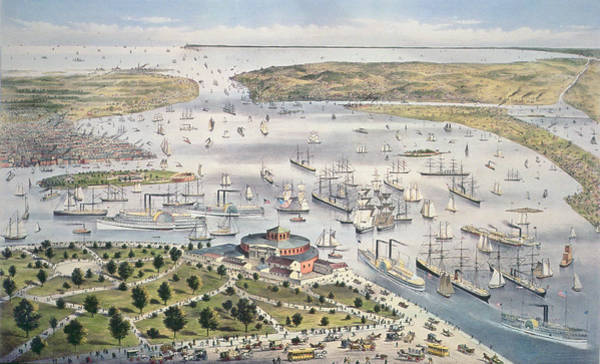 Battery Park Wall Art - Painting - Port Of New York, Looking South by Currier and Ives