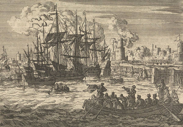 Wall Art - Drawing - Port Of Sal With The English Fleet And A Sloop Of Turks by Jan Luyken And Pieter Van Der Aa (i)