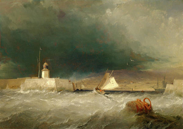 Stormy Drawing - Port On A Stormy Day Signed And Dated by Litz Collection