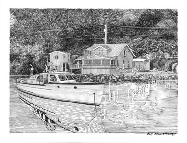 Wa Drawing - Port Orchard Washington Waterfront Home by Jack Pumphrey