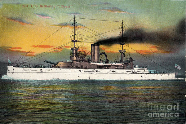 Photograph - Port Side Of  The Battleship Illinois Bb-7 Circa 1908 by California Views Archives Mr Pat Hathaway Archives