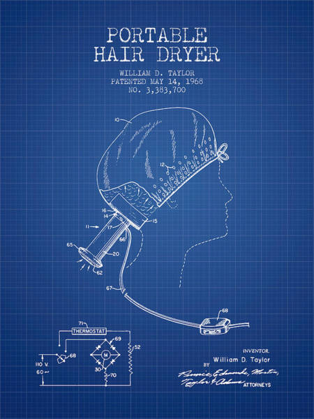 Wall Art - Digital Art - Portable Hair Dryer Patent From 1968 - Blueprint by Aged Pixel