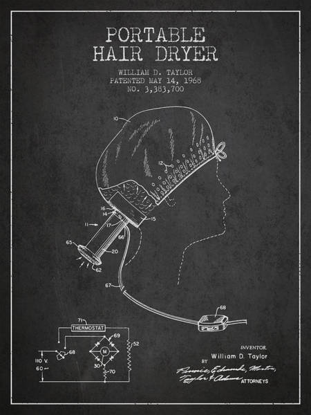 Wall Art - Digital Art - Portable Hair Dryer Patent From 1968 - Charcoal by Aged Pixel