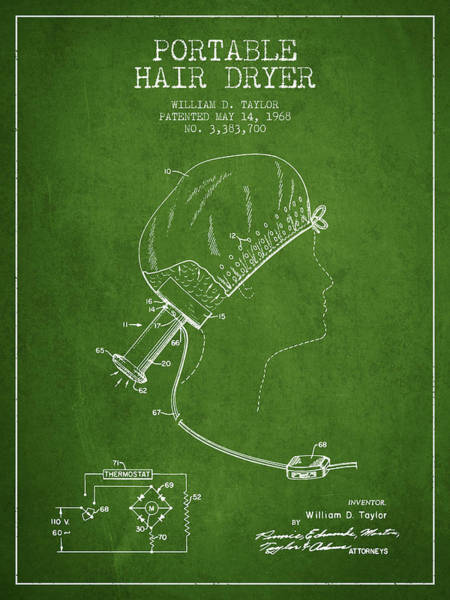Wall Art - Digital Art - Portable Hair Dryer Patent From 1968 - Green by Aged Pixel