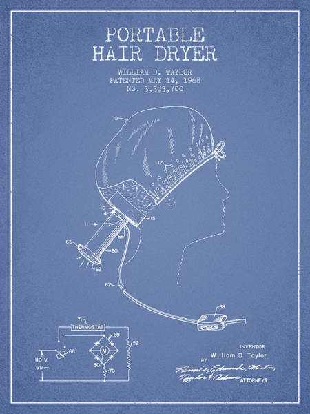 Wall Art - Digital Art - Portable Hair Dryer Patent From 1968 - Light Blue by Aged Pixel