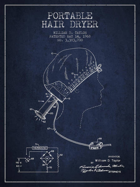 Wall Art - Digital Art - Portable Hair Dryer Patent From 1968 - Navy Blue by Aged Pixel