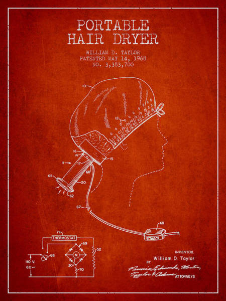 Wall Art - Digital Art - Portable Hair Dryer Patent From 1968 - Red by Aged Pixel