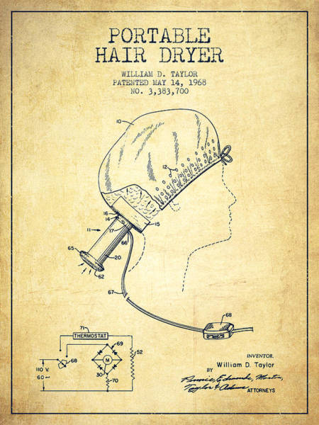 Wall Art - Digital Art - Portable Hair Dryer Patent From 1968 - Vintage by Aged Pixel