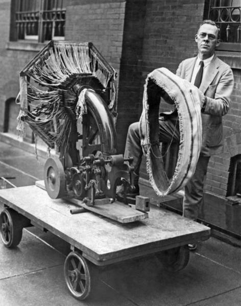 Weaving Photograph - Portable Tire Making Device by Underwood Archives