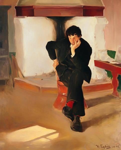 Crossed Legs Painting - Portait Of Painter Torleiv Stadskeid by Mountain Dreams