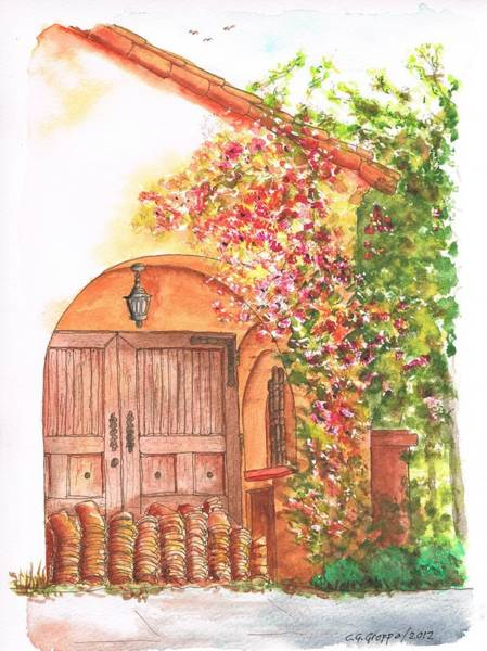 Acuarela Painting - Portal With Bouganvilles In Westwood - California by Carlos G Groppa